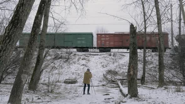 Thumbnail for Creating Footage of Passing Freight Train in Winter