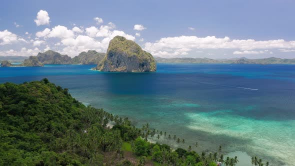 Thumbnail for El Nido, Palawan, Philippines. Aerial Drone Panoramic Coastline View of Bacuit Bay with Beautiful