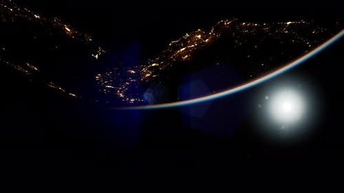 Space Sun and Planet Earth at Night