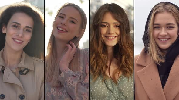 Collage of Gorgeous Caucasian Women Young Girls Standing Outdoors at Different Seasons Concept of