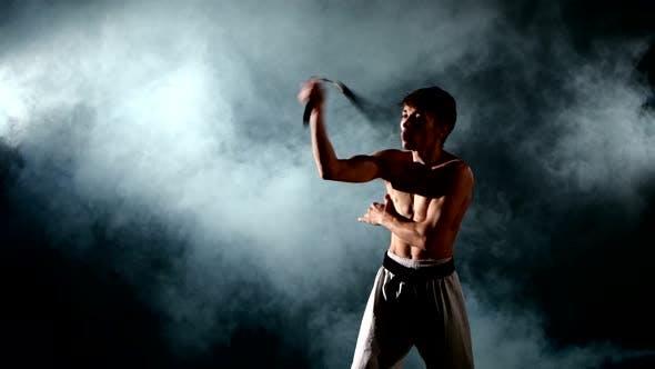 Man Practicing Karate or Kung Fu