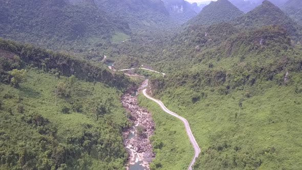 Amazing Deep Green Jungle Covers High Hills Aerial View
