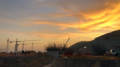 Sunset at Construction Site
