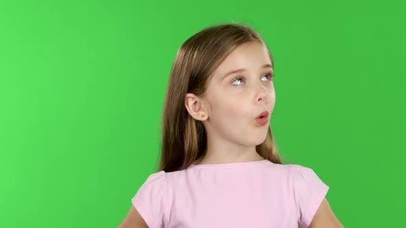 Thumbnail for Child Looks with Great Surprise Around. Green Screen
