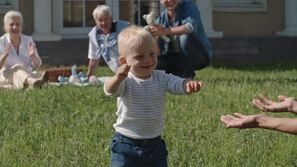 Thumbnail for Blond Toddler Making First Steps