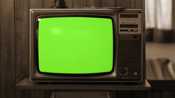 Thumbnail for Retro TV turning on Green Screen with Static Noise and Color Bars. Sepia Tone.