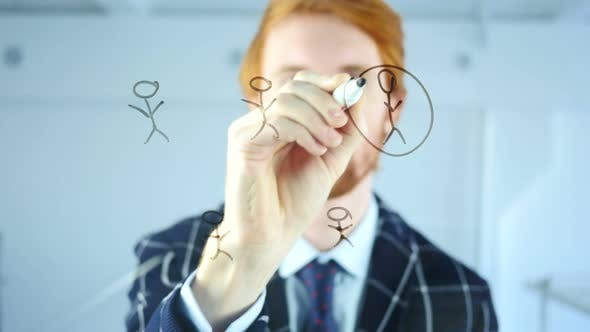 Thumbnail for Creative Man Drawing People Network Concept on Transparent Glass in Office, Red Hairs
