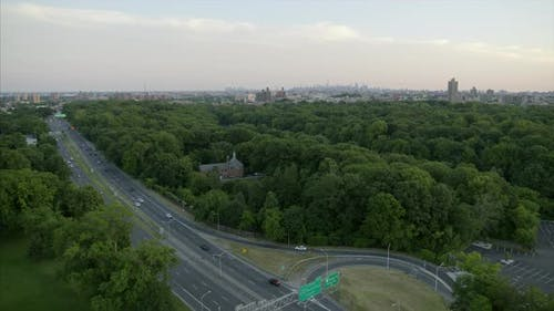 Aerial of Bronx River Parkway Viewing the NYC Skyline