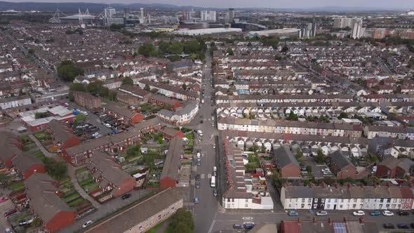 Thumbnail for A Flight over a Housing Estate towards a City Centre