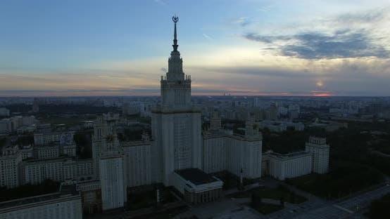 Aerial Moscow Cityscape with Lomonosov State University, Russia