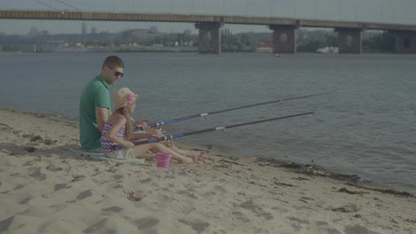 Thumbnail for Happy Father and Daughter Fishing Together