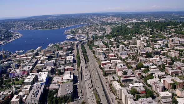 Thumbnail for Interstate 5 By Seattle Lake Helicopter Aerial