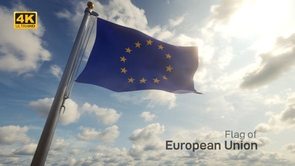 Thumbnail for EU Flag on a Flagpole - 4K