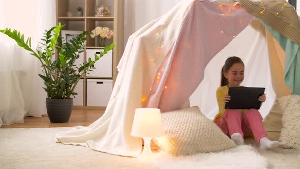 Thumbnail for Little Girl with Tablet Pc in Kids Tent at Home