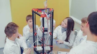 Little Children Teens in the Classroom Creating 3d Models