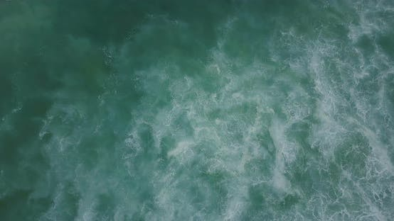 Thumbnail for Drone Ascending Above Big Rushing Ocean Wave and Amazing Inspirational Blue and Green Seafoam