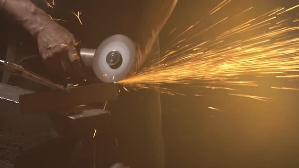 Thumbnail for Sparks From Grinder Cutting Metal. Slow Motion
