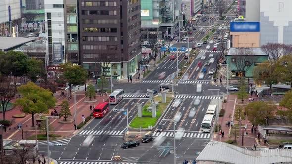 Thumbnail for Nagoya Cityscape Urban Transport Roads Timelapse