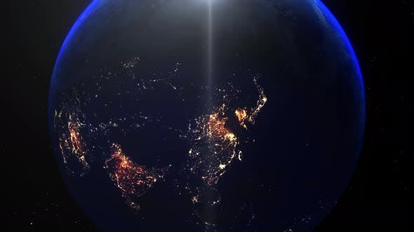 Realistic Earth Night Zoom Out Clouds China Beijing