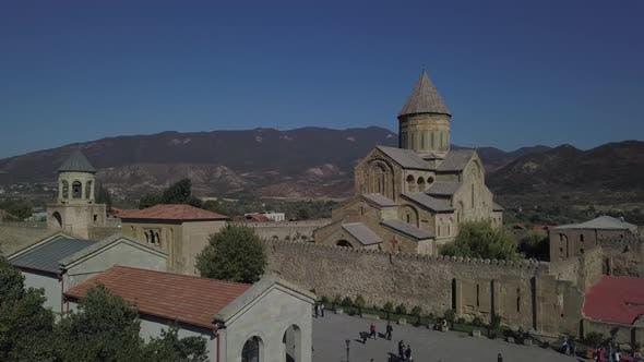 Aerial view of Svetitskhoveli Cathedral in Mtskheta, Georgia