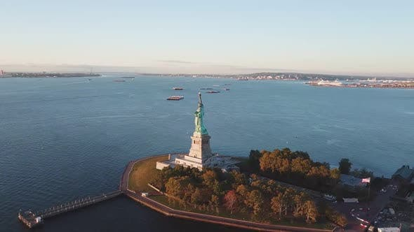 Thumbnail for Aerial of Statue of Liberty, New York, Usa