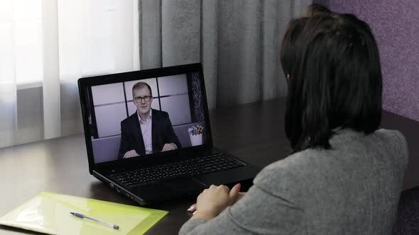 Thumbnail for Business Woman Make Video Chat Call with Boss on Laptop. Distance Conference