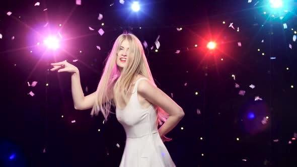 Happy Girl Are Funny Dancing Against Disco Lights Glitter Confetti