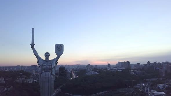 Monument Motherland. Aerial. Kyiv. Ukraine