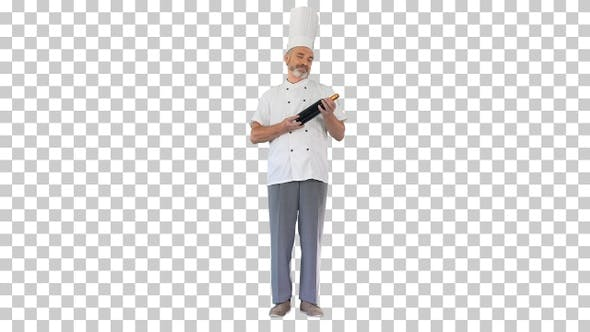 Thumbnail for Smiling male chef cook holding a bottle, Alpha Channel