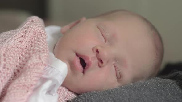 Thumbnail for Lovely Newborn Baby Girl Sleeping on Mothers Chest