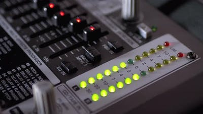 LED Indicator Level Signal on the Sound Mixing Console or Dj Console