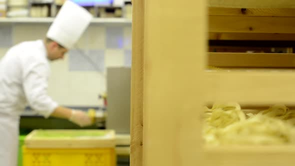 Chef Makes Pasta in Factory - Production of Pasta - Machine Produce Pasta
