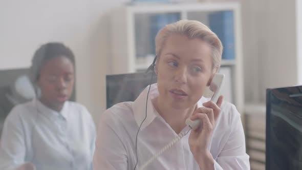 Portrait of Caucasian Woman Working in Helpdesk