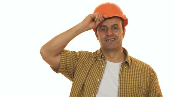 Cover Image for Handsome Mature Engineer Wearing Hardhat Smiling Confidently