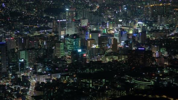 Thumbnail for Panorama of Night in Korea Seoul City Timelapse