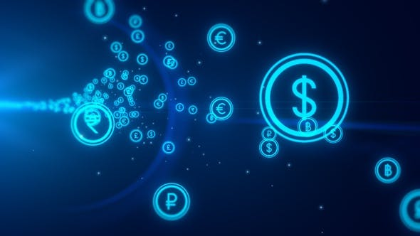 Digital Global Currency Icons Flying