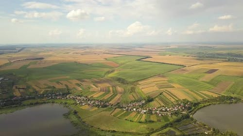 Aerial view of a lake surrounded with yellow agricultural fields and small village houses in rura