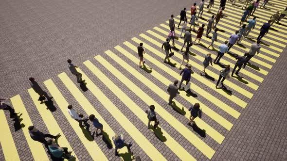 Pedestrians People Yellow Zebra Busy Crosswalk Intersection