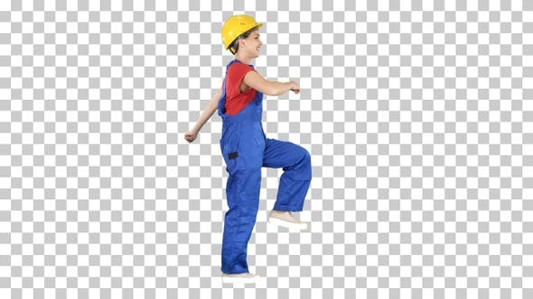 Cover Image for Happy Woman Construction Worker Walking in Funny Way Willing