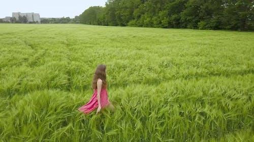 A woman in red dress walking in green wheat field