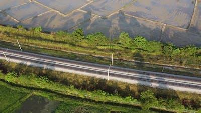 Aerial look down railway