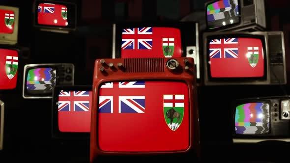 Thumbnail for Flag of Manitoba, Canada, and Retro TVs.