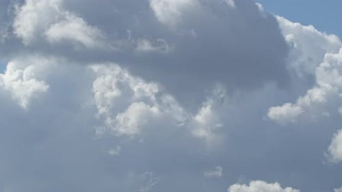 White Clouds Thicken In The Sky. The Sky Is Covered With Thick Clouds. Time Interval