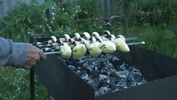 Thumbnail for Man cooking grilled vegetables on courtyard. Male puts skewers of vegetables on barbecue grill.