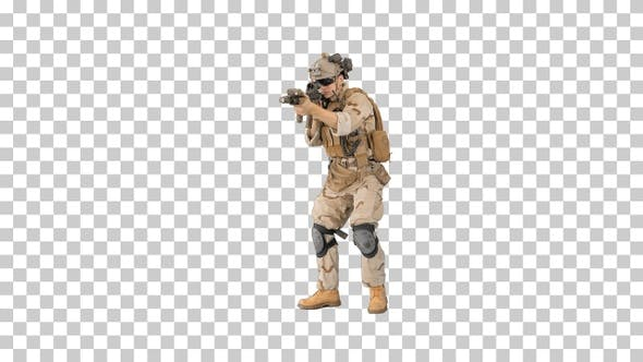 Thumbnail for Armed marine soldier with assault rifle, Alpha Channel