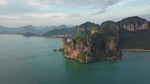 Thumbnail for Aerial View of Lagoon and Beach Railay Thailand