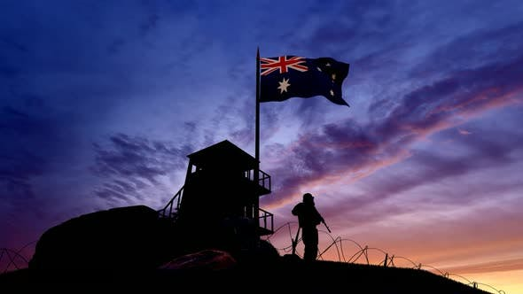 Thumbnail for Australian Soldier On The Border At Night At The Border