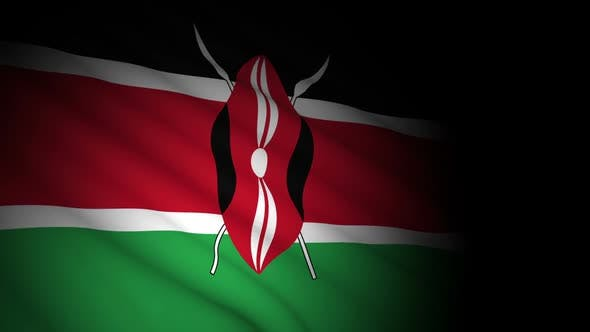 Kenya Flag Blowing in Wind