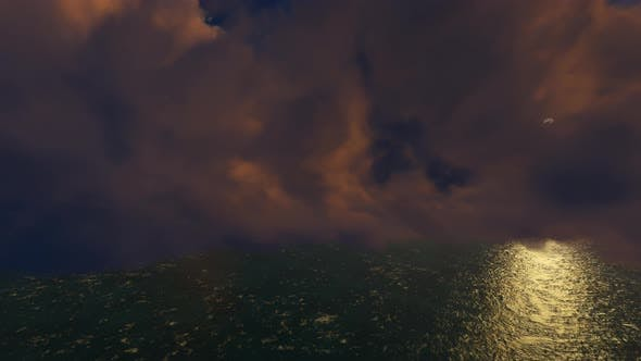 Flying On Sunset Sky Clouds 01 4K