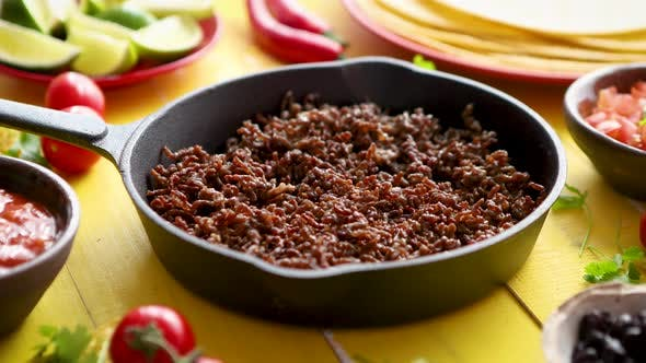 Thumbnail for Various Fresh and Tasty Ingredients for Chilli Con Carne. With Meat on Iron Pan